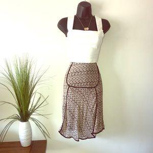 Max Studio Black Trim Pattern 100% Silk Skirt